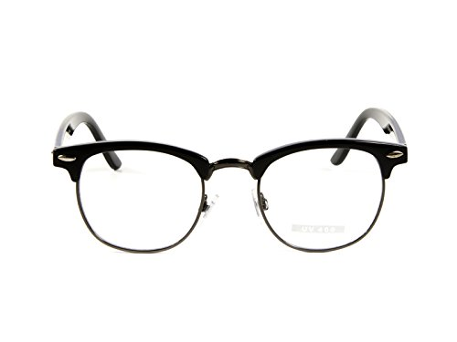 Goson Classic Black Gunmetal Frame/Clear Lens Horned Rim Clubmaster Glasses - Rim Half Prescription Glasses