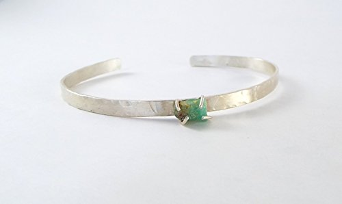 Aquamarine Cuff - *DISCONTINUED* Raw Aquamarine 4 Prong Sterling Silver Open Bangle Cuff Bracelet