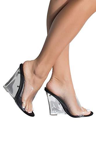 CAPE ROBBIN Women's Dressy Open Toe Clear PVC Slip On Mule Wedge (11, Black) from CAPE ROBBIN