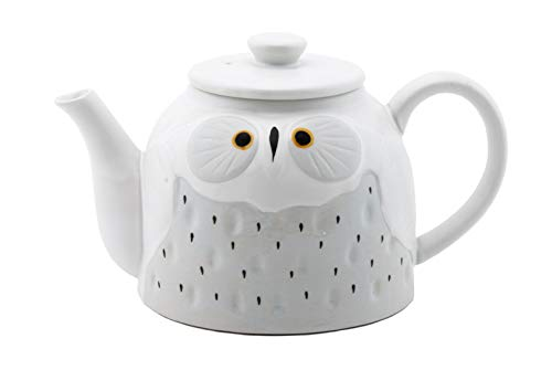 Fuji Merchandise Cute Novelty Owl Design Ceramic Teapot with Side Handle 52 fl oz Tea Pot Kettle (White)]()