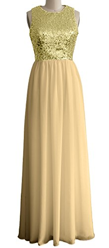 MACloth Women O Neck Sequin Chiffon Long Bridesmaid Dress Formal Evening Gown Light Gold-Champagne