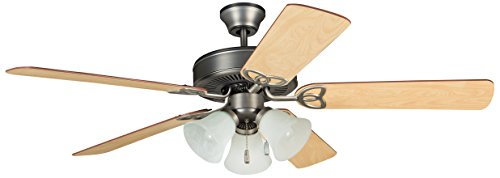(Ellington BLD52AN5C3 Builder Deluxe Ceiling Fan with Ash/Mahogany Blades and Alabaster Glass, 52
