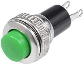 uxcell プッシュボタン スイッチ 10個入り 10mm 瞬間プラスチックミニラウンド グリーン SPST NO