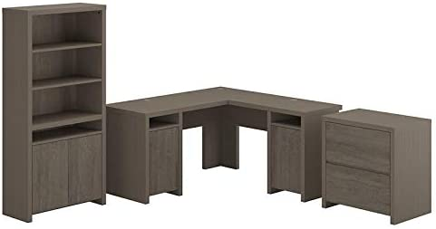 Bush Furniture Bristol L Shaped Desk with File Cabinet and Bookcase in Gray - Engineered Wood