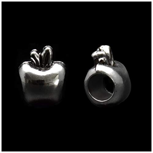 Pack of 50 Apples Antique Silver Plated Spacer Loose Beads Charms for Pandora Bracelet DIY Jewelry Making -