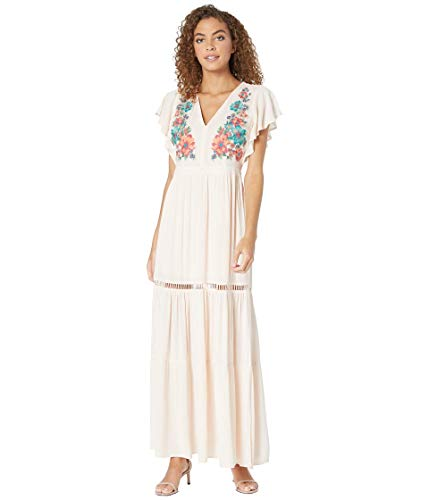 Miss Me Women's Floral Embroidered Maxi Dress Blush Pink Medium (Miss Me Colored Jeans)
