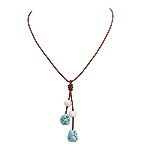 Women Turquoise necklace,Made With Freshwater Pearl Pandant,Genius Leather Long Y Necklace 27.5""