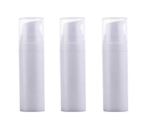 - 3PCS White Empty Disposable Portable Mini Airless Vacuum Pump Bottle Jars Bayonet Cream Lotion Dispenser Cosmetic Makeup Emulsion Storage Holder Container Pots Travel Accessories(15ml/0.5oz)