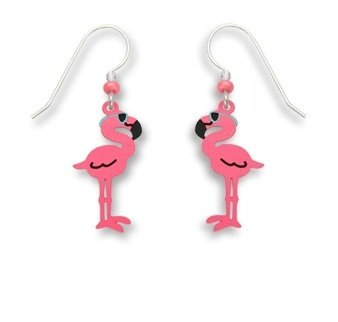 Sienna Sky Pink Flamingo Wearing Sunglasses Earrings - Sunglasses Wrapped Wire