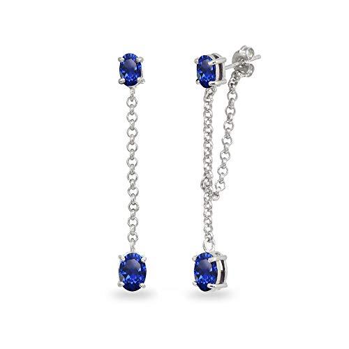 Sterling Silver Created Blue Sapphire Oval Two Stone Bezel-Set Chain Drop Dangle Earrings for Women Teen Girls - Set Bezel Earrings Drop