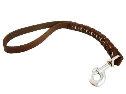 Brown Leather Braided Dog Traffic Leash Short 15″ Long, My Pet Supplies