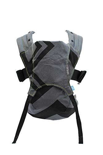 We Made Me Venture+ Multi-Position 2-in-1 Toddler Carrier for 24-55 pounds, Front and Back Carry, Modern, Easy-to-Use, Charcoal Grey Black Zig Zag