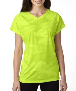 Champion Women's Essential Double Dry V-Neck T-Shirt,Safety Green Camo,X-Large ()