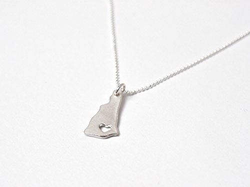 New Hampshire Necklace - Fine Silver - New Hampshire State Necklace NH State Love Charm Custom New Hampshire Map Necklace Personalized