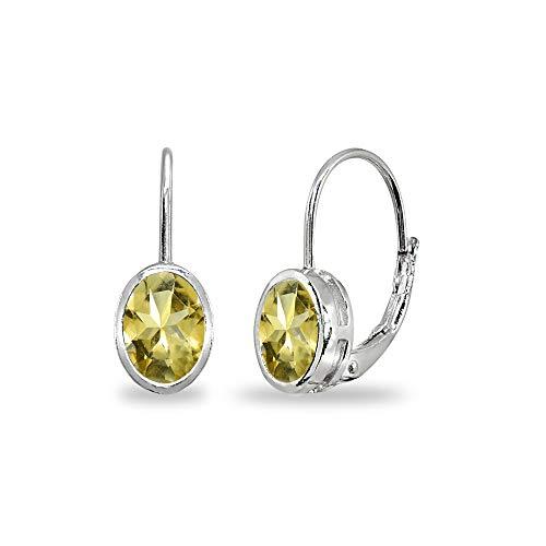 - Sterling Silver Citrine 7x5mm Oval Bezel-Set Dainty Leverback Earrings for Women Teen Girls