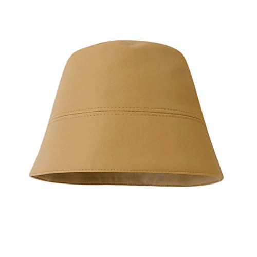 SNOWSONG Faux Leather Bucket Hat Solid Fishmen Cap Lightweight Packable Sunhat