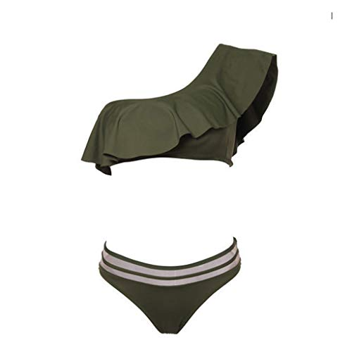 Pengy Women One Shoulder Ruffled Bikini Two Pieces Bathing Suits Top with High Waisted Bottom Bikini Set Army Green