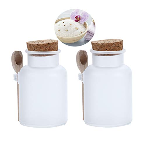 2PCS 100ML 3.4OZ Refillable Frosted Empty Plastic Bottle with Wooden Spoon and Cork Stopper Bath Salt Dispenser Food Honey Powder Seasoning Storage Holder Container Pot Jar Sealed Tank