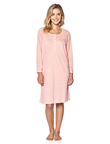 - Casual Nights Women's Stars Pintucked Long Sleeve Nightgown - Peach - 5X-Large