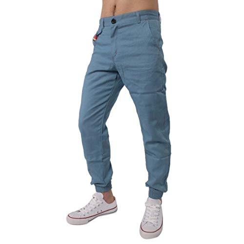 BoBoLily Pantalones Largos para Hombres Jeans Pantalones para Hombres Pantalones De Lino Pantalones De Lino Pantalones Deportivos para Hombres Sueltos Hellblau
