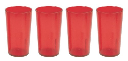 32 oz. (Ounce) Restaurant Tumbler Beverage Cup, Stackable Cups, Break-Resistant Commmerical Plastic, Set of 4 - Red