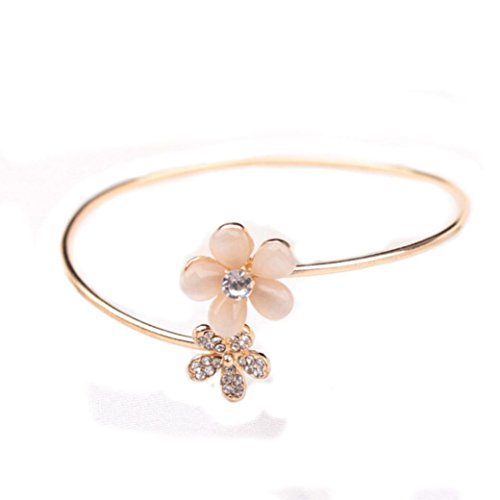 Leyorie Bracelet, Lady Crystal Double Five Leaf Open Bangles Gold Open Cuff Flower Rhinestone Wristband