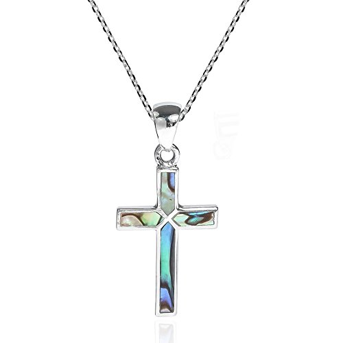 AeraVida Cross of Faith Inlaid Abalone Shell .925 Sterling Silver Pendant Necklace