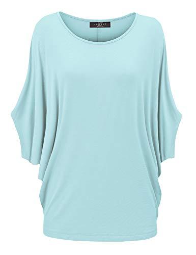 Aqua Knit Top - WT1073 Womens Scoop Neck Half Sleeve Batwing Dolman Top XL Aqua