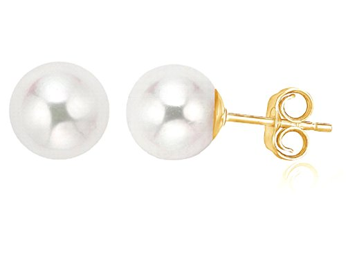 Pearlyta 14K Gold Handpicked AAA+ ROUND Freshwater Cultured White Pearl Earrings for Women by Pearlyta