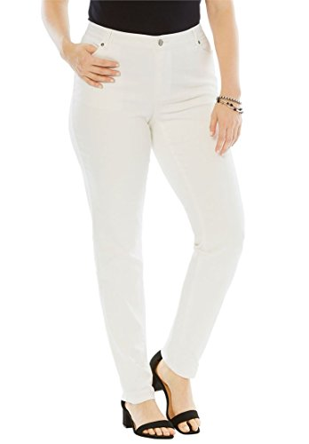 White Straight Leg Jeans (Women's Plus Size Straight Leg Jeans With Invisible Stretch Waistband White)