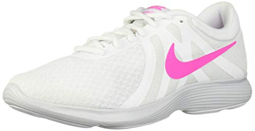 Nike Women's Revolution 4 Running Shoe, White/Laser Fuchsia - Pure Platinum, 6 Regular US