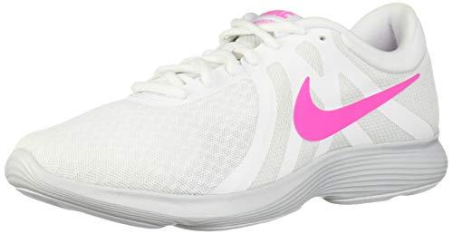 Nike Women's Revolution 4 Running Shoe, White/Laser Fuchsia - Pure Platinum, 6 Regular US