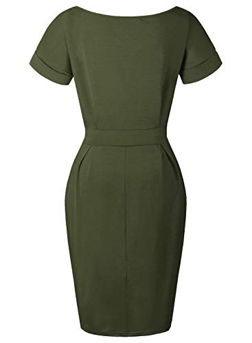 fb05aae9d71 BOKALY Women s Pencil Dress Knee Length Business Casual Belted Elegant  Party Dresses with Pockets