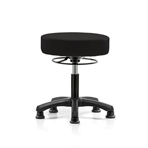 (Perch Life Height Adjustable Stool with Stationary Caps | Desk Height 18-23 inches | 250-pound Weight Capacity | 12 Year Warranty (Black Vinyl))