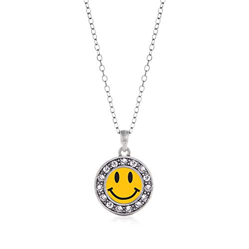 Inspired Silver - Smiley Face Charm Necklace for Women - Silver Circle Charm 18 Inch Necklace with Cubic Zirconia Jewelry