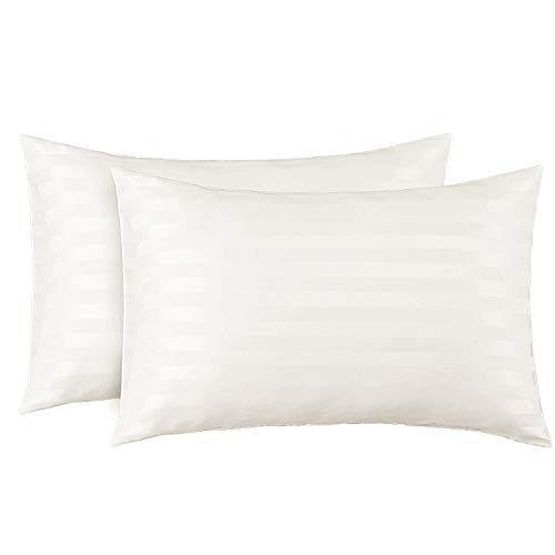 Bedsure Two-Pack Satin Pillowcases Set for Hair Cool and Easy to WASH King 20x40 Striped Off-White with Envelope Closure