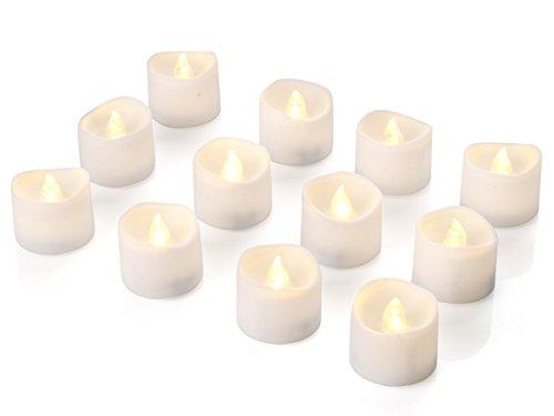 Homemory 12 led flammenlose kerzen, 3.8cm elektrische flackernde batteriebetriebene teelichter, led votivkerzen warme weiße