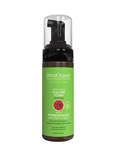 DermOrganic Firm Hold Volume Foam with Pomegranate Anti-Fade Extract - Alcohol-Free, 5 fl.oz. 1