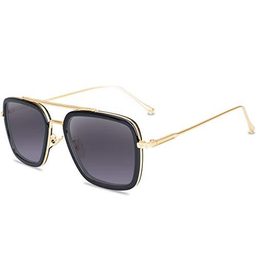 Tortoise Sunglasses Retro Aviator Polarized Sunglasses Square Metal Frame for Men Women Sunglasses Classic Downey Iron Man Tony Stark (Gold Metal Gradient Grey ()