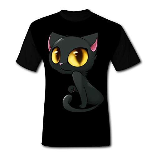 SMXNJSUE44 Men's 3D Black cat Print Short Sleeve T-Shirt Fashion Tees M