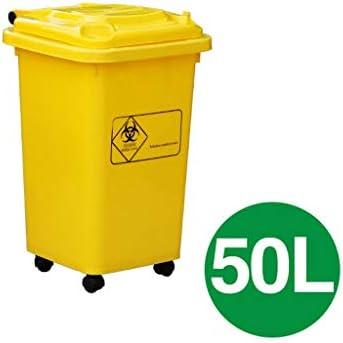 大きいゴミは厚くプラスチック大きい滑車の不用な大箱のゴミ箱の黄色い病院屋外のホテル50L / 100Lできます (サイズ : 50L)
