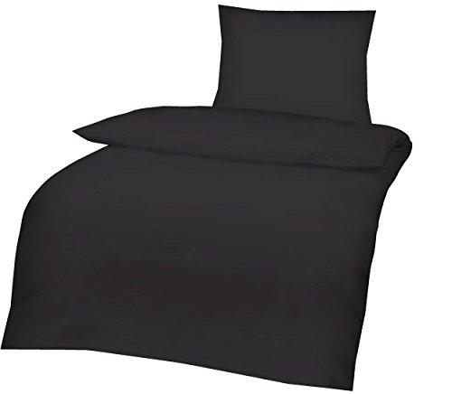Aminata - edle Teenager-Bettwäsche 135x200 Baumwolle Uni schwarz mit Reißverschluss Linon