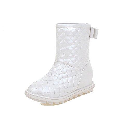 AllhqFashion Damen Ziehen auf Rund Zehe Mittler Absatz Niedrig-Spitze Stiefel mit Schleife Weiß