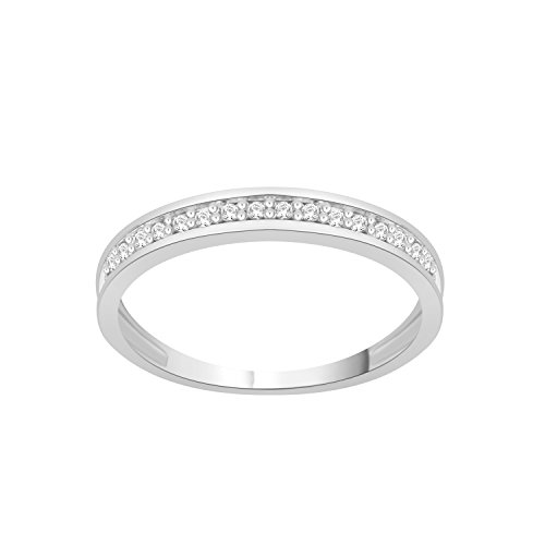 0.09 (1/10) CTW Sterling Silver White Diamond Anniversary & Engagement Wedding Band Stackable Ring Size (5 9)