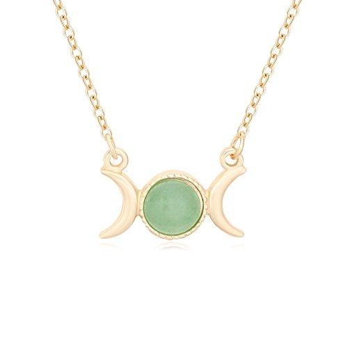 (Triple Moon Goddess Symbol Semi-Precious Stones Pendant Necklace 18