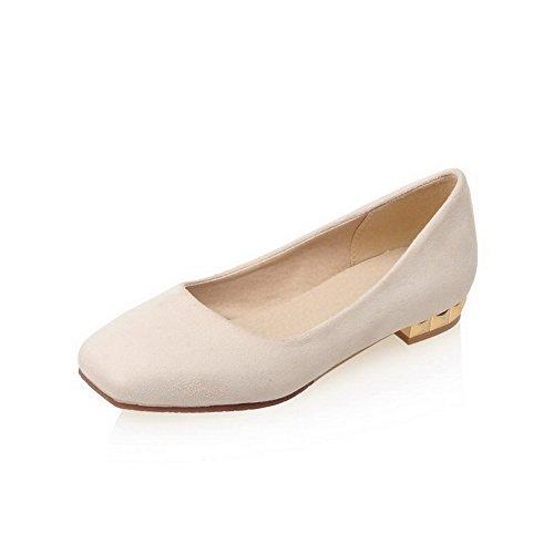 VogueZone009 Damen Ziehen auf Nubukleder Quadratisch Zehe Niedriger Absatz Pumps Schuhe Cremefarben