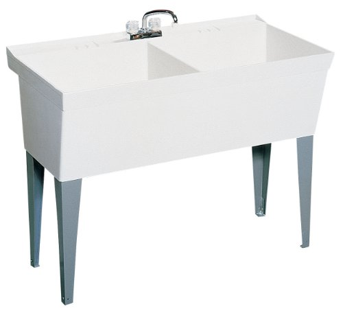 Double Bowl Utility Sink - Swan US01711SB.124 11-in L x 17.75-in W x 6.75-in H Solid Surface Kitchen Sink, Canyon