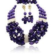 Africaine du Nigeria Corail Foncé puces mixtes perles mariage mariée Fête Collier Bracelet Boucles d'oreille Bijoux Set
