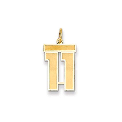 14K Yellow Gold Medium Satin Number 11 Charm
