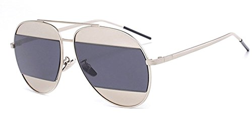 de687cc4f4e Ray Ron Split Aviator Large Metal Frame Mirrored Reflective Lenses Unisex  Sunglasses